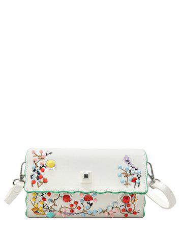 Cheap Color Rivets Embroidery Crossbody Bag - OFF-WHITE  Mobile