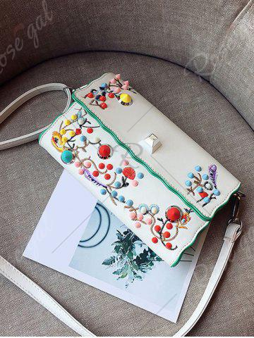 Affordable Color Rivets Embroidery Crossbody Bag - OFF-WHITE  Mobile