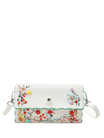 Chic Color Rivets Embroidery Crossbody Bag - OFF-WHITE  Mobile