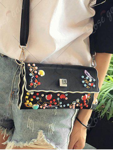 Chic Color Rivets Embroidery Crossbody Bag - BLACK  Mobile