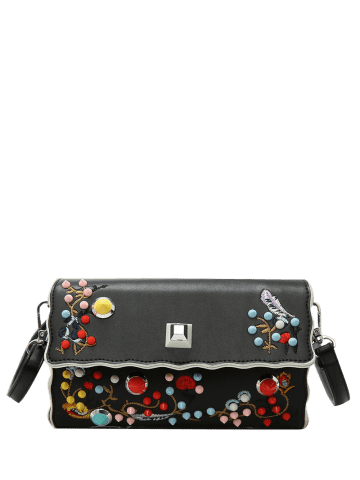 Latest Color Rivets Embroidery Crossbody Bag - BLACK  Mobile