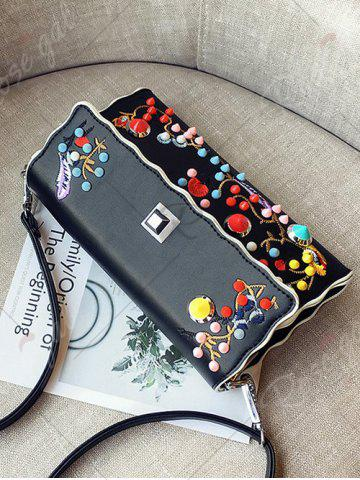 Hot Color Rivets Embroidery Crossbody Bag - BLACK  Mobile