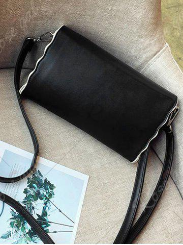 Fashion Color Rivets Embroidery Crossbody Bag - BLACK  Mobile