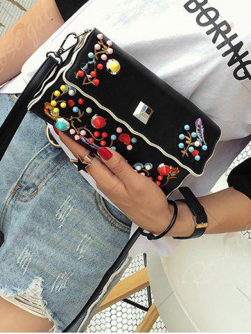 Affordable Color Rivets Embroidery Crossbody Bag - BLACK  Mobile