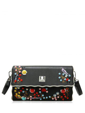 Outfit Color Rivets Embroidery Crossbody Bag - BLACK  Mobile