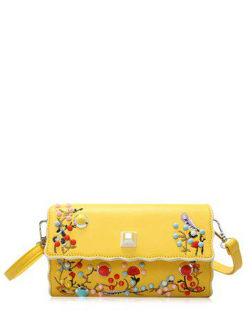 Color Rivets Embroidery Crossbody Bag - Yellow