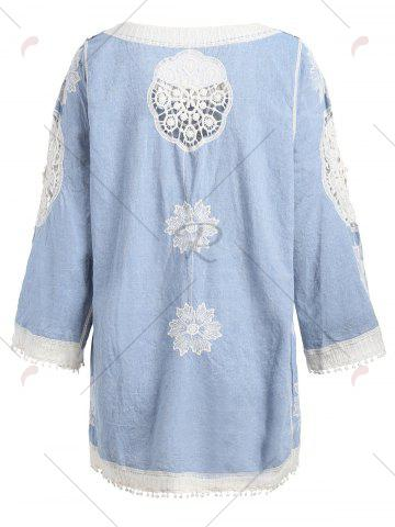 Cheap Fringed Hollow Out Floral Crochet Blouse - ONE SIZE BLUE Mobile
