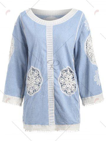 Best Fringed Hollow Out Floral Crochet Blouse - ONE SIZE BLUE Mobile