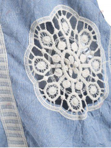 New Fringed Hollow Out Floral Crochet Blouse - ONE SIZE BLUE Mobile