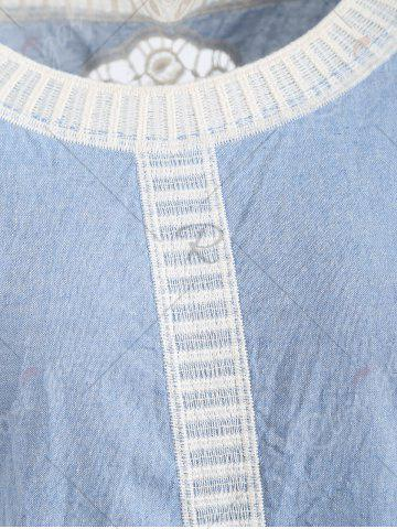 Outfits Fringed Hollow Out Floral Crochet Blouse - ONE SIZE BLUE Mobile