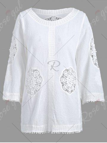 Unique Fringed Hollow Out Floral Crochet Blouse - ONE SIZE WHITE Mobile