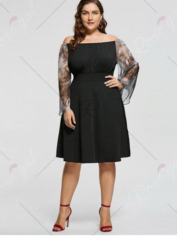 Outfit Plus Size Printed High Waist Off Shoulder Dress - XL BLACK Mobile