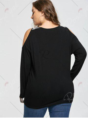 Unique Plus Size Open Shoulder Sequined Insert Top - XL BLACK Mobile