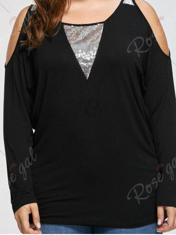 Fashion Plus Size Open Shoulder Sequined Insert Top - XL BLACK Mobile