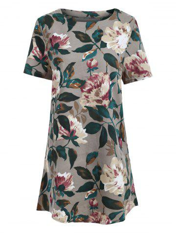 Hot Tunic Pocket Floral Print Shift T-shirt Dress COLORMIX 2XL