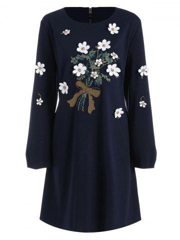 Plus Size Floral Applique Long Sleeve Shift Dress - Cadetblue - 2xl