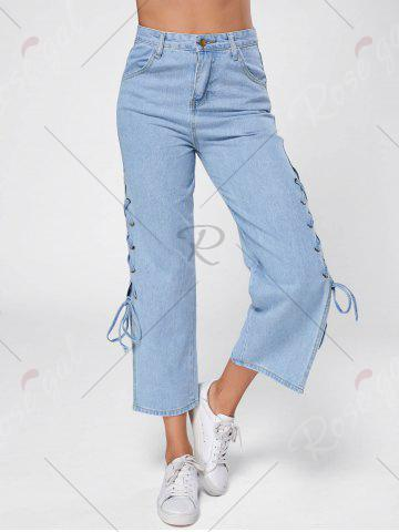 Online Lace Up Palazzo Jeans - M BLUE Mobile