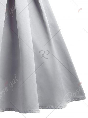 Sale Vintage Mesh Pleaded Embroidery A Line Dress - S GRAY Mobile