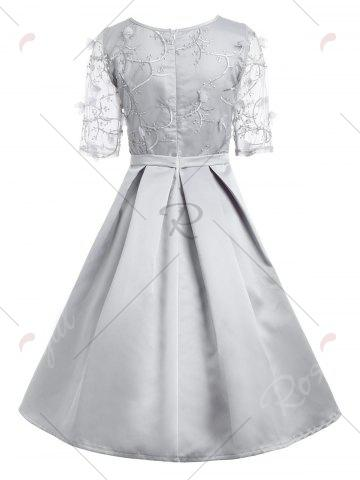 Trendy Vintage Mesh Pleaded Embroidery A Line Dress - S GRAY Mobile