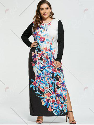 Outfit Plus Size Floral Maxi Long Sleeve Dress - XL WHITE Mobile