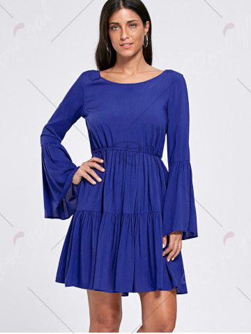 Chic Flounce Flare Sleeve Crochet Panel Dress - 2XL DEEP BLUE Mobile