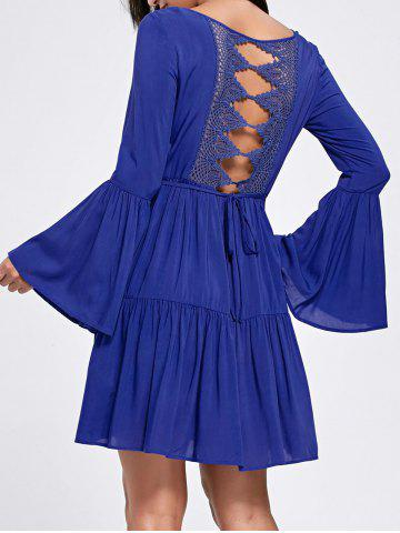 Flounce Flare Sleeve Crochet Panel Dress - Deep Blue - 2xl
