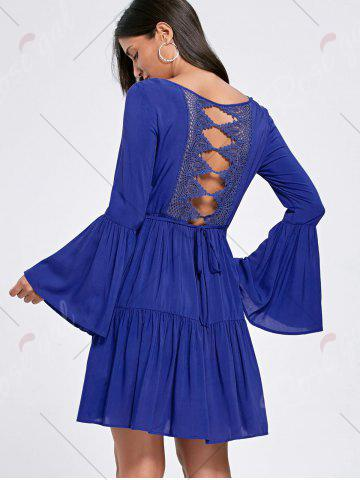Shop Flounce Flare Sleeve Crochet Panel Dress - 2XL DEEP BLUE Mobile