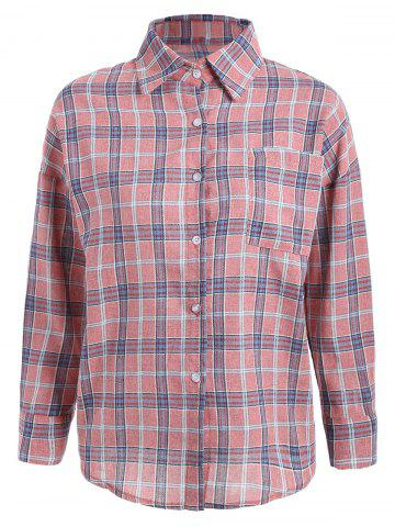 Outfits Pocket Plaid Shirt - XL PEACH RED Mobile