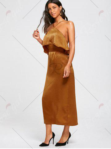 Discount High Slit Sleeveless Long Bodycon Popover Dress - S BROWN Mobile