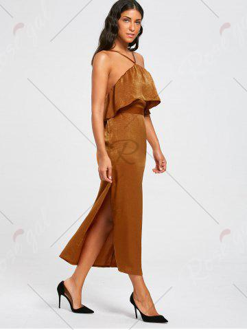 Outfits High Slit Sleeveless Long Bodycon Popover Dress - S BROWN Mobile