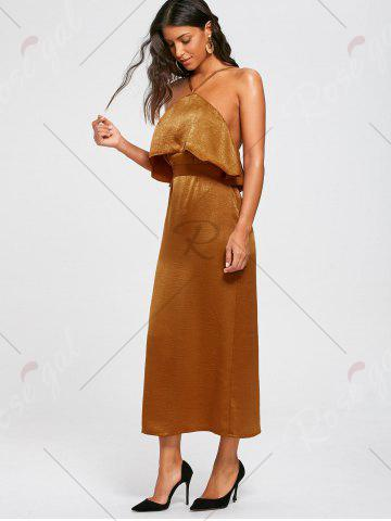Chic High Slit Sleeveless Long Bodycon Popover Dress - S BROWN Mobile