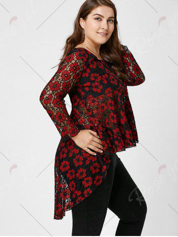 Store Floral Lace High Low Plus Size Top - XL RED Mobile