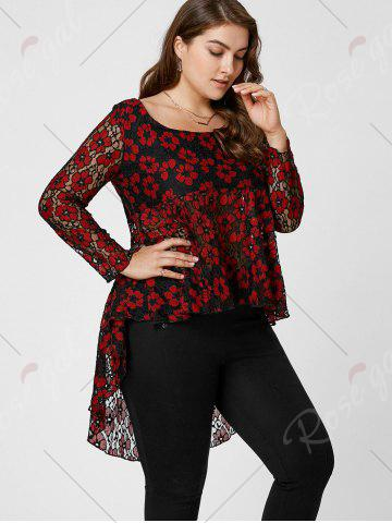 New Floral Lace High Low Plus Size Top - XL RED Mobile