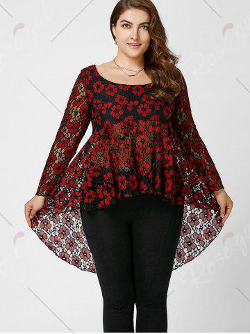 Shops Floral Lace High Low Plus Size Top - XL RED Mobile
