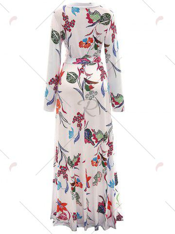 Chic Long Sleeve Floral Surplice Maxi Formal Dress - M WHITE Mobile
