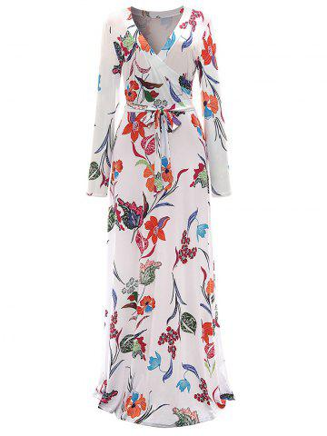 Cheap Long Sleeve Floral Surplice Maxi Formal Dress - M WHITE Mobile