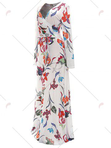 Outfit Long Sleeve Floral Surplice Maxi Formal Dress - M WHITE Mobile