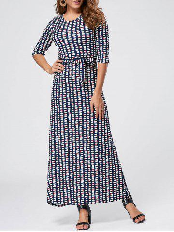 Latest Maxi Floor Length Geometric Print Dress - 2XL BLUE Mobile