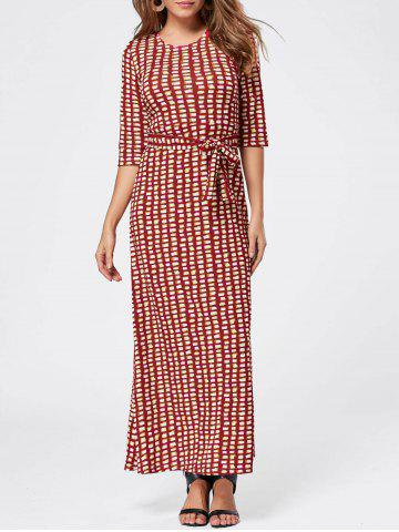 Online Maxi Floor Length Geometric Print Dress - L RED Mobile