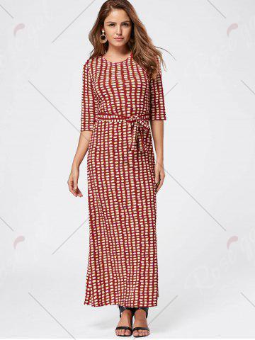 Trendy Maxi Floor Length Geometric Print Dress - L RED Mobile