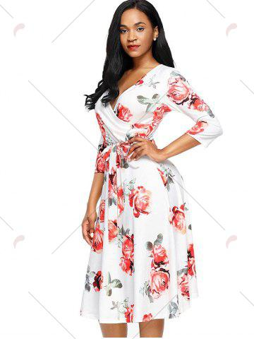 Outfits Midi Wrap Flower Print Dress - 2XL RED Mobile