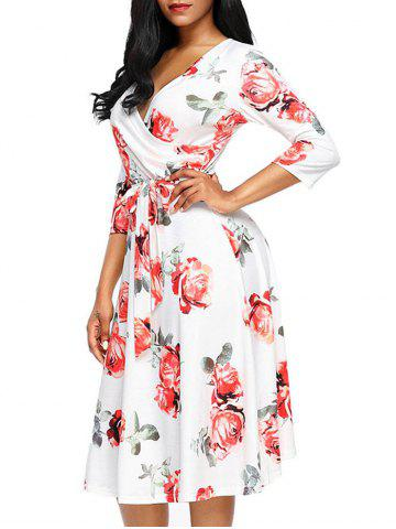 Hot Midi Wrap Flower Dress - 2XL RED Mobile