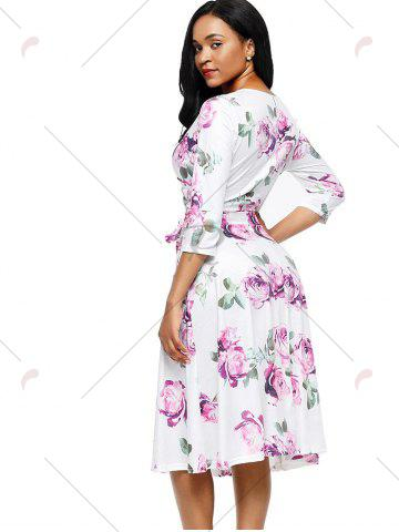 Shops Midi Wrap Flower Print Dress - S PURPLE Mobile
