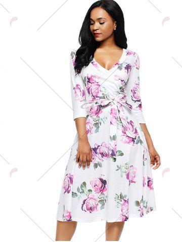 Hot Midi Wrap Flower Print Dress - S PURPLE Mobile