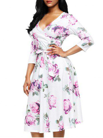 Store Midi Wrap Flower Print Dress - S PURPLE Mobile