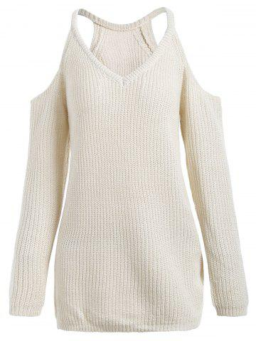 Cold Shoulder V Neck Sweater - Off-white - One Size