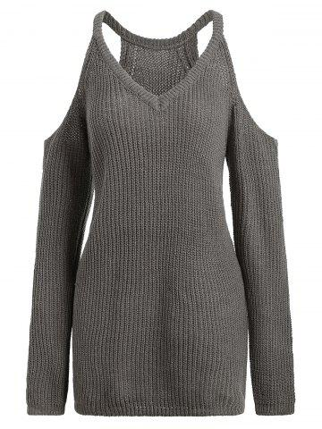 Discount Cold Shoulder V Neck Sweater - ONE SIZE GREYISH BROWN Mobile