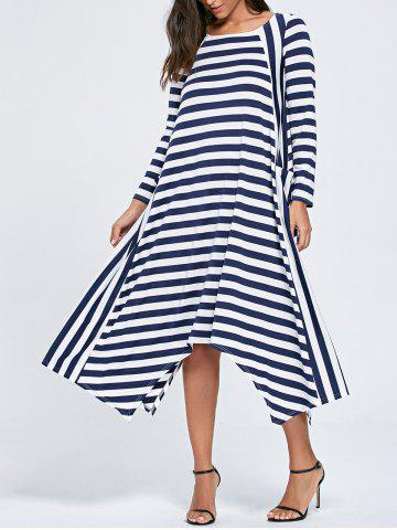 Affordable Asymmetric Long Sleeve Striped Maxi Dress - XL STRIPE Mobile