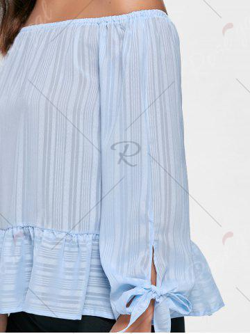 Online Flounce Off Shoulder Tied Blouse - S LIGHT BLUE Mobile