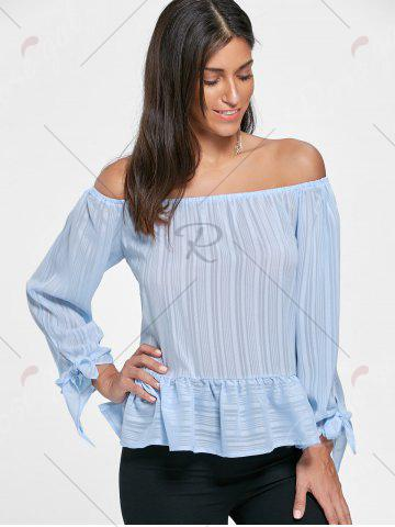 Store Flounce Off Shoulder Tied Blouse - S LIGHT BLUE Mobile